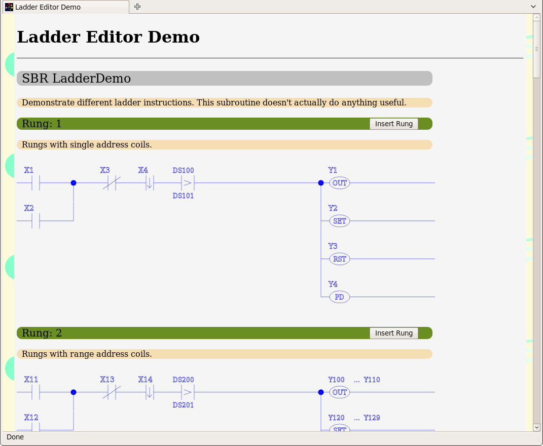 Help - Web Based Ladder Logic Demo